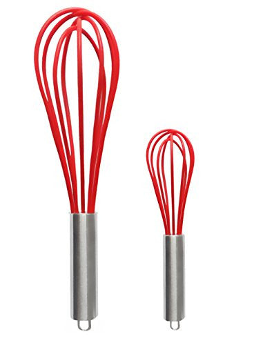 Ouddy 2 Pack Silicone Whisk, Balloon Whisk Set, Egg Frother, Milk And Egg Beater Blender   Kitchen U