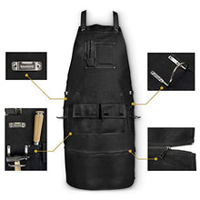 Premium Apron for Blacksmith, Woodworking, Ironworker - Wide Comfortable Straps with Adjustable Back, Quick Release Buckle, Metal Tape & Hammer Holders, Breathable Heavy Duty Canvas Apron, Gift Set