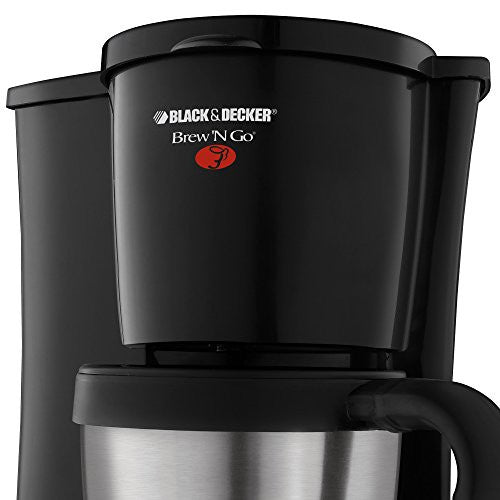 Black+Decker Dcm18 S Brew N Go Personal Coffeemaker With Travel Mug, Black/Stainless Steel