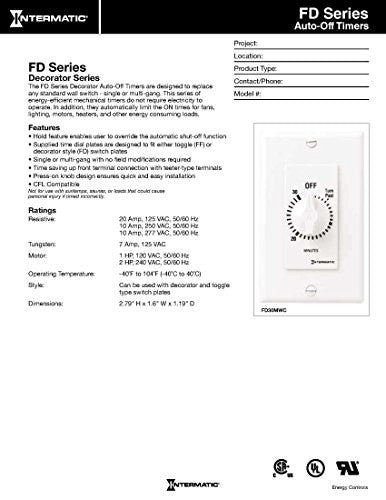 Intermatic Fd60 Mac 60 Minute Spring Loaded Wall Timer For Lights And Fans, Almond