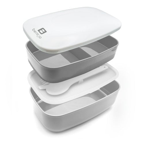 Bentgo Classic (Gray)   All In One Stackable Lunch Box Solution   Sleek And Modern Bento Box Design