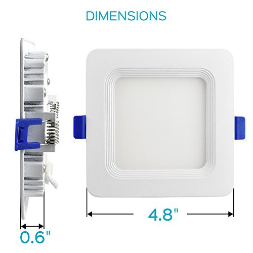 Luxrite 4 Inch Square Ultra Thin LED Recessed Light with Junction Box, 10W, 4000K Cool White Dimmable, 650 Lumens, Slim Recessed Ceiling Light, IC Rated Airtight, Energy Star & ETL Listed (4-Pack)