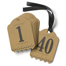 1pk Vintage - Table Number Tags (1-40) - Kraft-Table Numbers