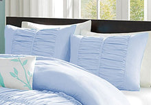100% Egyptian Cotton 800 Thread Count Center Gathered Mimi Ruffled Pillow Shams Small Square Solid Blue