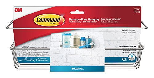 Command Fba Bath31 Sn Es Shower, Satin Nickel, 1 Caddy, 1 Prep Wipe, 4 Large Water Resistant Strips
