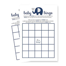 Navy Elephant Baby Shower Bingo Game   Pack Of 25