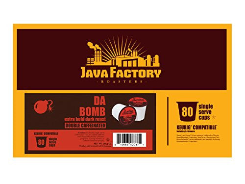 Java Factory Single Cup Coffee For Keurig K Cup Brewers, Da Bomb Extra Bold Double Caffinated, 80 Co