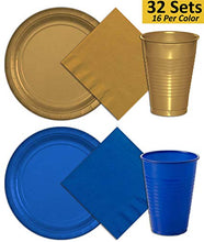 Plates, Cups, Napkins - 32 Sets - Gold & Dark Blue - 16 Per Color Per Item. 9