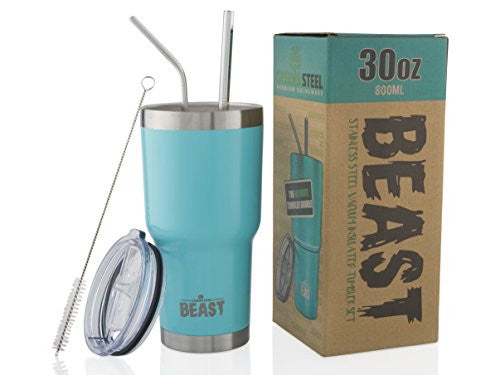 Beast 30 Oz Teal Tumbler Stainless Steel Insulated Coffee Cup With Lid, 2 Straws, Brush & Gift Box B