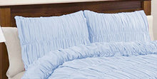 100% Egyptian Cotton 400 Thread Count Gathered Ruffle Pillow Shams Euro/Square/Continental/European Solid Sky Blue