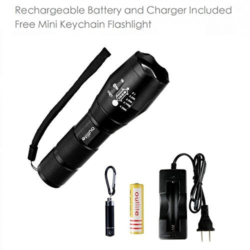 Outlite High Lumens Led Flashlights, Rechargeable Battery And Charger Included, Portable Tactical Fl