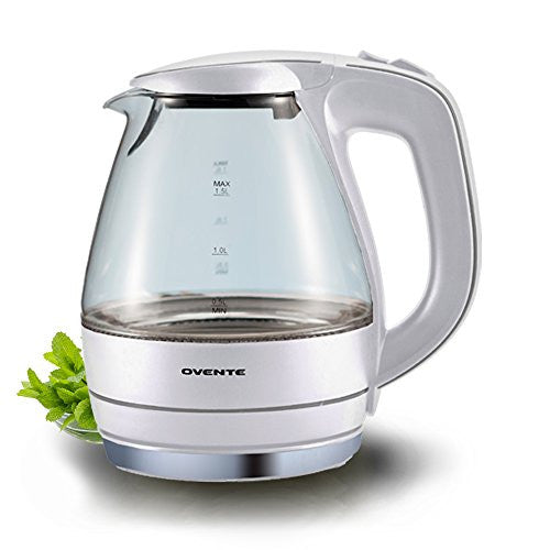 Ovente 1.5 L Bpa Free Glass Electric Kettle, Fast Heating With Auto Shut Off And Boil Dry Protection,