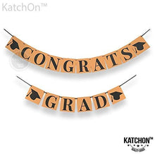 Congrats Grad Banner Decoration Sign -Perfect Graduation Decorations Party Supplies for Grad Party | Classy Kraft Paper Bunting Graduation Banner | Eye-Catching Black Ribbon and Cap Decor,6.3x6.3Inch