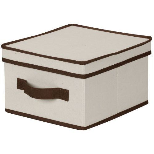 Household Essentials 511 Storage Box With Lid And Handle   Natural Beige Canvas With Brown Trim  Med