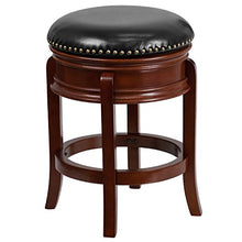 Flash Furniture 24'' High Backless Light Cherry Wood Counter Height Stool Carved Apron And Black Lea