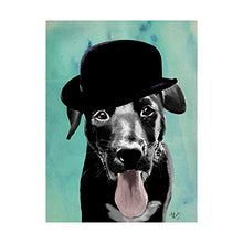 Trademark Fine Art Black Labrador in Bowler Hat by Fab Funky, 18x24