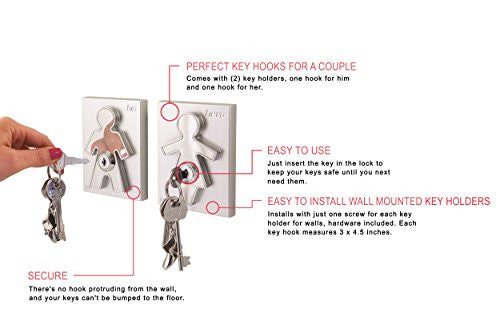 J Me His And Hers Key Holders   Wall Mounted Key Organizer For Couples   Household Key Rack For Entr