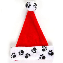 Flomo Christmas Plush Paw Print Santa Hat (2 Hats) Red