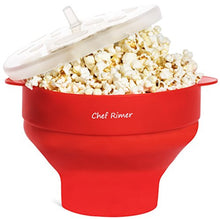 Chef Rimer Microwave Popcorn Popper Sturdy Convenient Handles Healthy No Oil Silicone Red Collapsibl