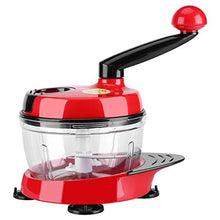 Manual Food Chopper Hand Crank Mincer Mixer Blender Cutter with Clear Container to Chop Meat Fruits Vegetables Nuts Herbs Onions Garlic