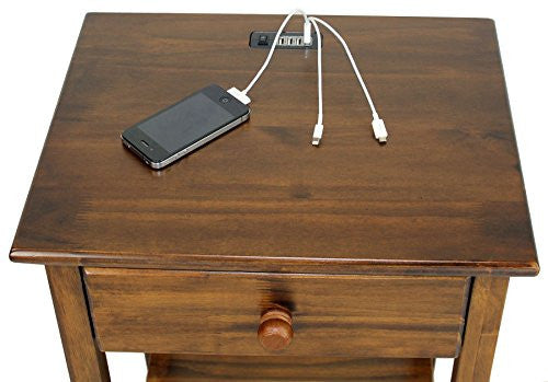 Casual Home Night Owl Nightstand With Usb Ports Warm Brown