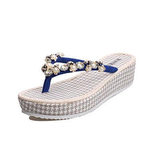 Sunfei ã'â® Women Fashion Summer Flat Flip Flops Sandals Loafers Bohemia Shoes (38, Blue)