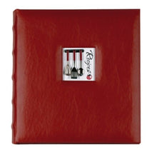 C.R. Gibson Red Leather Kitchen Recipe Keeper Binder - 11