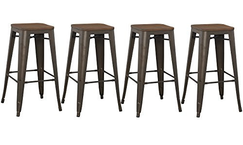 "Bt Expert 30"" Inch Bar Stool, Modern Solid Steel Stacking Industrial Rustic Metal With Wood Top Set O"