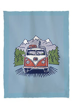 Lantern Press Cartoon Camper Van Driving on Highway (60x80 Poly Fleece Thick Plush Blanket)