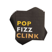Cakewalk Pop Fizz Clink Napkins, Black,
