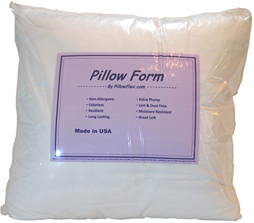 Pillowflex 16x16 Inch Premium Polyester Filled Pillow Form Insert   Machine Washable   Square   Made
