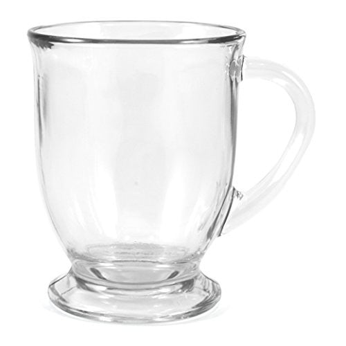 Anchor Hocking 83045 Ahg17 Glass 16 Ounce Cafe Mug, Set Of 4, 4 Pack, Clear