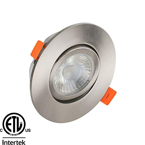 LED Gimbal Recessed Downlight, 3.5 Inch with Driver, 3000K Soft White, 7W, 600 Lumens, 120V, Dimmable, ETL Listed, Brushed Nickel Trim (4 Pack)