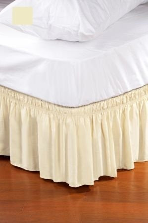 Home Details Dust Ruffle Bed Skirt, Queen/King, Ivory