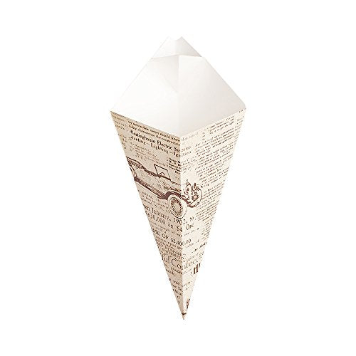 Conetek 10-Inch Eco-Friendly Finger Food Cones with Built-in Condiment Dipping Pocket: Perfect for Appetizers  Food-Safe Paper Cone with Newsprint Styling  Disposable and Recyclable