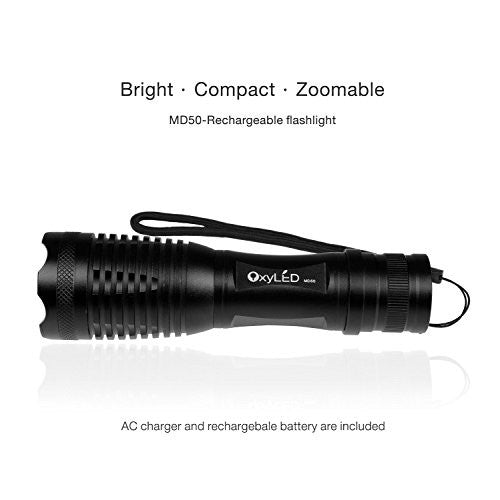 [Rechargeable] Led Tactical Flashlight, Oxy Led Super Bright 900 Lumens Cree T6 Led Torch, 18650 Batt