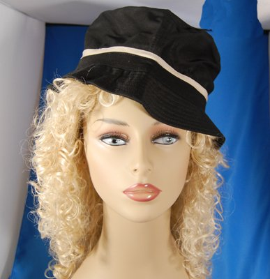 Black Bucket Hat with Khaki Stripe