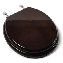 Comfort Seats C1B1R-18CH Designer Solid Wood Toilet Seat with PVD Chrome Hinges, Round, Dark Brown