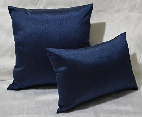 Aiking Home Solid Faux Silk Euro Sham/Pillow Cover, Zipper Closure, 24 By 24 Inches, Navy