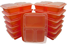 Table To Go 20-Pack Bento Lunch Boxes with Lids (3 Compartment/ 36 oz) | Microwaveable, Dishwasher & Freezer Safe Meal Prep Containers | Reusable Dish Set for Prepping, Portion Control & More (Orange)