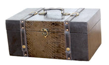 Quickway Imports 14 Inch Prince Leather Trunk, Designer Treasure Chest