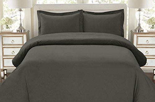 1500 Thread Count Duvet Cover Set, 3pc Luxury Soft, All Sizes & Colors, King Gray