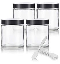Clear Thick Glass Straight Sided Jar - 4 oz / 120 ml (4 Pack) + Spatulas - Airtight, Smell Proof, BPA Free Lids