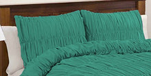 100% Egyptian Cotton 500 Thread Count Gathered Ruffle Pillow Shams Euro/Square/Continental/European Solid Teal Green