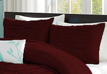 100% Egyptian Cotton 400 Thread Count Center Gathered Mimi Ruffled Pillow Shams Queen Solid Wine
