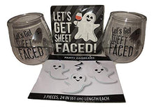 Let's Get Sheet Faced Spooky Fun Ghost Halloween Haunted 6 Piece Party Plastic steamless Wine Glass Cup Set