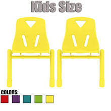 2xhome Set Of 2 Kids Chair Stackable Chairs Molded Plastic Metal Leg For Preschool School Child Chil