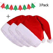 Red Plush Velvet Santa Hat Xmas Christmas Santa Hat Party Hats Banner for Women Men Adults Kids Bulk