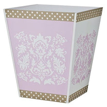 Tiddliwinks Baroque Damask Wastebasket (Pink/Mocha)