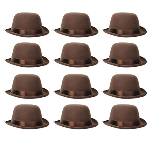 Beistle 60336 12 Piece Bowler Hats, Brown
